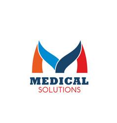 m letter icon for medical solutions vector image