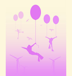 Man flying with balloon vector