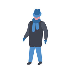 man in winter clothes in vector image
