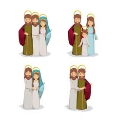 Mary joseph and jesus cartoon design vector