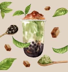 Matcha bubble milk tea ad content trendy modern vector
