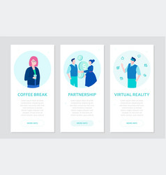 modern business - set of flat design style banners vector image