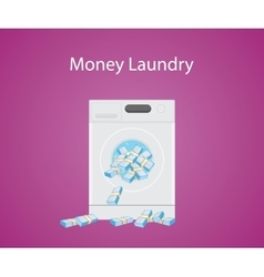 Money laundry with money cash in laundry machine vector
