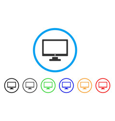 monitor rounded icon vector image