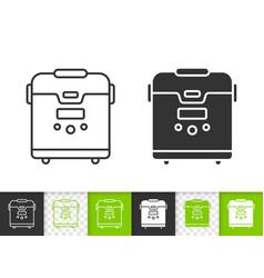 multicooker simple black line icon vector image