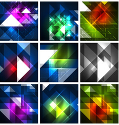 neon triangles on color dark backgrounds vector image
