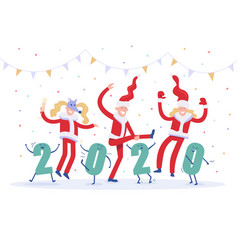 new years corporate party 2020 happy drunk people vector image