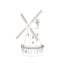 Old wind mill vector