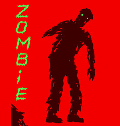 One-armed zombie silhouette in leaky clothes vector
