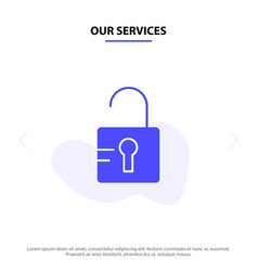 Our services unlock study school solid glyph icon vector