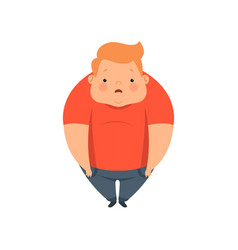 Overweight boy cute chubby child cartoon vector