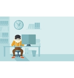Overworked businessman is under stress vector