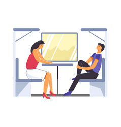 passengers traveling in train trip of people in vector image