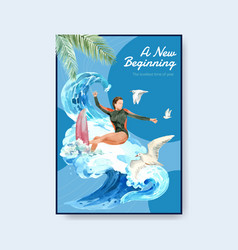 Poster template with surfboards at beach design vector