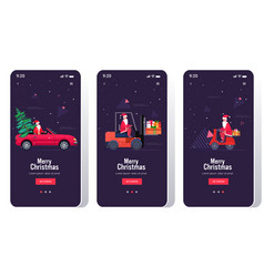 Santa claus driving car forklift and scooter set vector