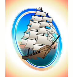 Scarlet sails ship in a circle draw vector
