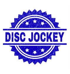 Scratched textured disc jockey stamp seal vector