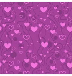 Seamless background with hearts and bubbles in vector image