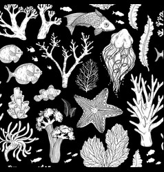 seamless pattern with black and white deepwater vector image