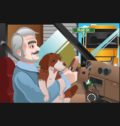 senior man driving in the city vector image