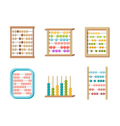 Set abacus toy with colorful beads for kids vector