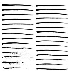 Set of black ink strokes vector