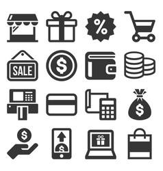 shopping icon set on white background vector image