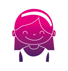 Silhouette girl with hairstyle and headband design vector