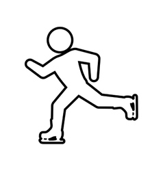 skating skate silhouette person shoe winter icon vector image