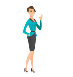 Smiling business woman showing ok sign vector