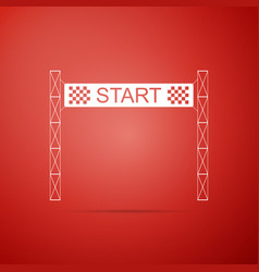 starting line icon on red background start symbol vector image