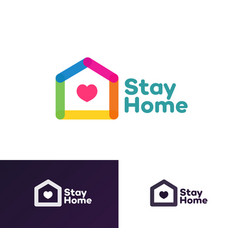stay home emblem modern flat style vector image