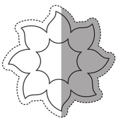Sticker monochrome contour with petals forming vector