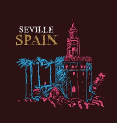 Torre del oro naval tower seville spain vector