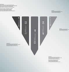 Triangle template consists of five grey parts on vector