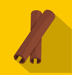 Two cinnamon stick spice icon flat style vector