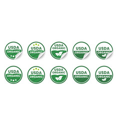 usda organic certified icons set realistic vector image