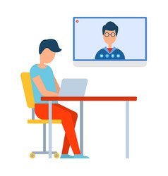 video conference in laptop online chat vector image
