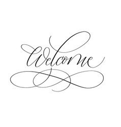 welcome lettering design for cards prints vector image