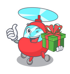With gift helicopter mascot cartoon style vector