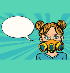 Woman in a gas mask vector