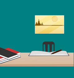 work desk with books in room on green wall vector image