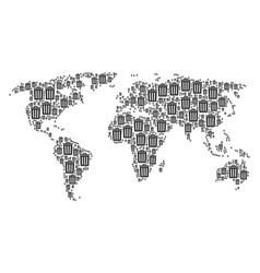 Worldwide atlas pattern of trash bin icons vector