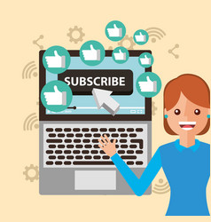 Young woman subscribe channel laptop likes vector