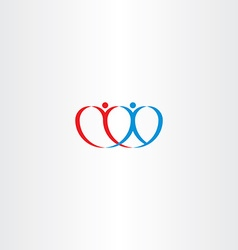 couple love heart boy and girl logo vector image vector image