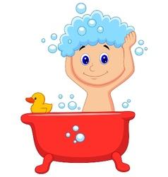 Cute cartoon boy having bath vector image