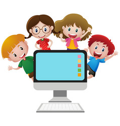 four happy children behind computer screen vector image