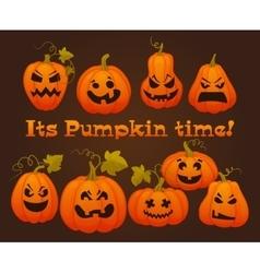 Set pumpkins for Halloween vector image vector image