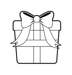sketch silhouette image giftbox with wrapping bow vector image vector image