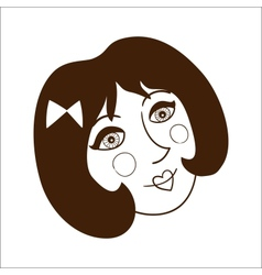 Stylish woman face isolate on white vector image
